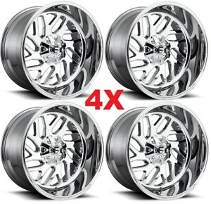22x12 Chrome Fuel Triton Wheels Rims Tires D609 Tis Deep Force