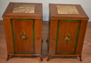1920 Antique French Satinwood Hand Painted Marble Top Nightstands Bedside Tables