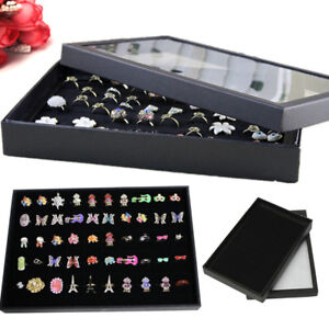 Jewelry Box Necklace Ring Earring Organizer Storage Case Velvet Glass 100 Slots