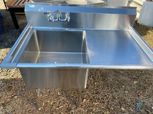 Gsw Stainless Steel 51 X 31 Commercial 1 Compartment Sink W drainboard Nsf