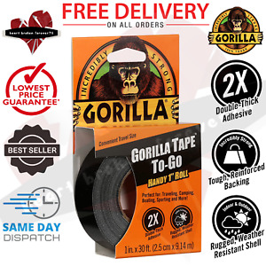 Gorilla Strong Duct Tape To go 1 X 30ft Black Double thick Adhesive Handy Roll