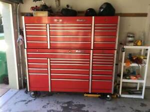 Snap On Snapon Snap On Krl Top Chest And Bottom Cabinet Triple Bank Tool Box Red