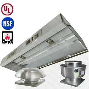8 Foot Kitchen Exhaust Hood Package hood Fans Curbs Ductwork Stainless Shee