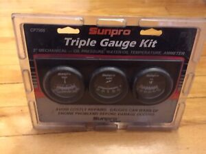 Sunpro Black 2 Mechanical Triple Gauge Kit Oil Pressure Water Temp Ammeter