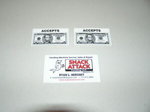 2 Snack Or Soda Vending Machine Decals accepts 5 Bill Free Ship