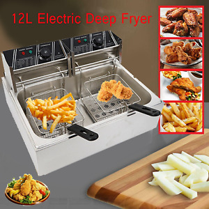 12l 5000w Electric Deep 1 Tank Fryer Commercial Tabletop Home restaurant Use