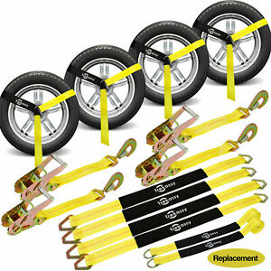 Car Tie Down Straps Heavy Duty 10 000 Lbs For Trailers 4 Pack Wheel Tow Ratchet