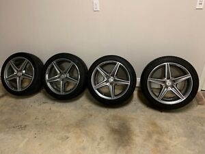 Staggered Oem Mercedes Amg 18 Wheels And Tires 5spoke Gray machined W205 C300
