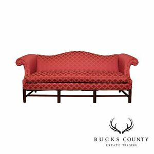 Hickory Chair Chippendale Style Mahogany Camelback Sofa
