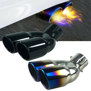 2 5 Car Exhaust Muffler Tip Dual Tail Pipe Stainless Steel Exhaust Tail Throat