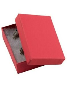 Jewelry Boxes 50 21 Red Matte Finish Cotton Filled Retail Gift 2 X 1 X 7 8
