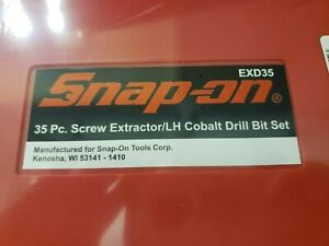 Snap On 35 Pc Screw Extractor Lh Cobalt Drill Bit Set New In Box