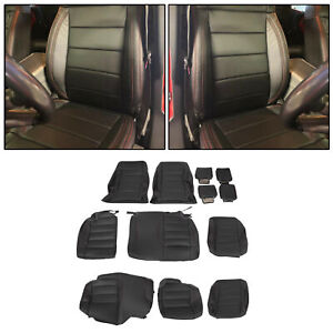For 2008 2010 Jeep Wrangler Synthetic Leather Seat Covers Kit Black 4 Door