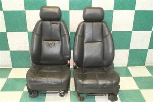 Note 07 14 Gm Suv Black Leather Heated Power Front Bucket Seats Pair 2x Oem
