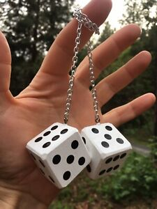 White Black Mirror Dice New Product Car Or Truck Hand Made In Usa Casino
