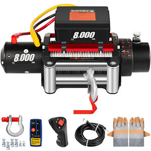 Electric Winch 8000ibs 12v 94ft Steel Rope 4wd Atv Utv Winch Towing Truck