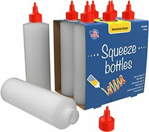 6 pack Plastic Squeeze Condiment Bottles 16 ounce With Red Twist cap Set Of 6