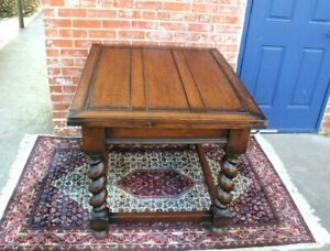 English Antique Oak Jacobean Barley Twist Draw Leaf Kitchen Table