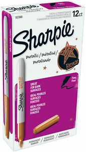 Sharpie Metallic Permanent Markers Fine Tip Bronze Pack Of 12