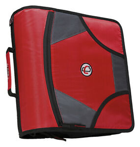 Case it Zipper Binder With 5 Tab Files D ring 4 Inches Red
