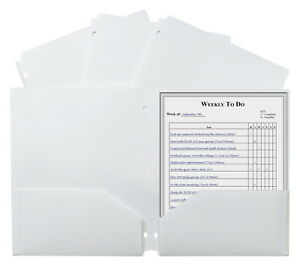 C line 3 hole Punch Poly Folders Letter 2 pocket White Pack Of 25