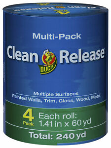 Duck Brand Clean Release Blue Painters Tape 1 2 5 Inch X 60 Yards Pack Of 4