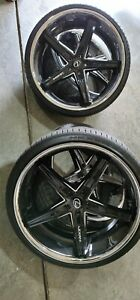 24 Lexani Wheels Fiorano W Nexen Tires Gloss Black Machined With Chrome