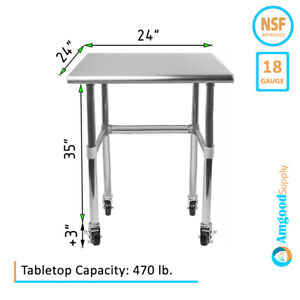 24 X 24 Open Base Stainless Steel Table Casters Prep Table On Wheels