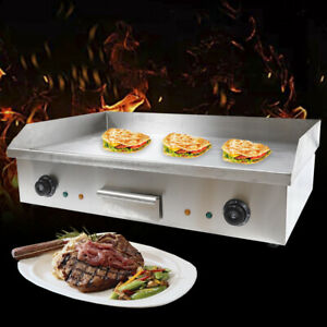 Electric Countertop Grill Griddle Flat Thermostatic Control Commercial Bbq 4400w