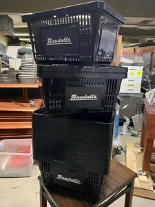 Set Of 14 Black 19 X 13 5 Plastic Grocery Stackable Food Shopping Baskets