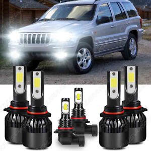For Jeep Grand Cherokee 1999 2004 Led Headlight Bulbs Hi Low Beam Fog Lights