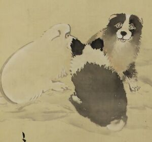 Hanging Scroll Japanese Painting From Japan Puppy Old Dog Art Ink Antique 941p