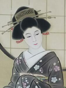 Japanese Painting Hanging Scroll Japan Old Art Geisha Antique Beauty Japan 942p