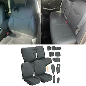 Gray Front Rear Seat Covers Full Set Kit For 2010 2015 Toyota Prius