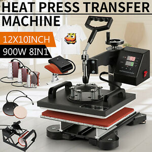 8 In 1 Heat Press Machine Swing Away Digital Sublimation T shirt Mug Hat Plate