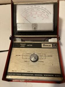 Vintage Snap On Folding Primary Tach Dwell Meter Mt416