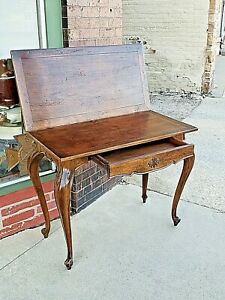 English Tudor Queen Ann Oak Folding Game Table With Drawer