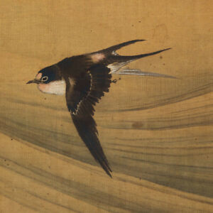 Hanging Scroll Japanese Painting Ink Swallow Wave Bird Antique 949p
