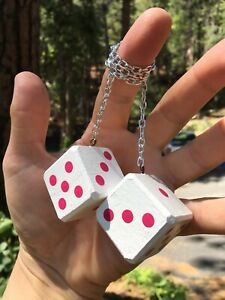 White Hot Pink Mirror Dice New Product Car Or Truck Hand Made In Usa