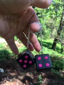 Black Hot Pink Mirror Dice New Product Car Or Truck Hand Made In Usa