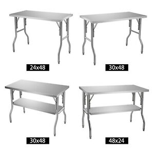 Vevor Stainless Steel Folding Commercial Kitchen Prep Work Table 48 X 24 30 Inch