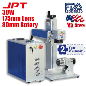 Us Stock 30w Jpt Fiber Laser Engraver Laser Marking Machine With 80mm Rotary