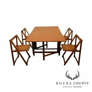 Mid Century Modern Drop Leaf Dining Table 4 Self Storing Folding Chairs