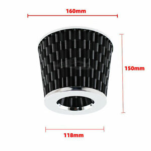 3 Carbon Fiber Pattern Silver Cover 76mm Inlet Cold Air Intake Dry Air Filter