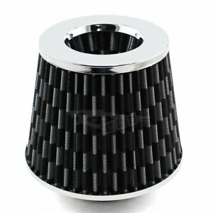 Silver Cover 3 76mm Carbon Fiber Pattern Inlet Cold Air Intake Dry Air Filter