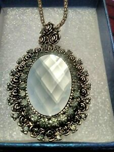 Simulated Silver Sapphire Vintage Frame Pendant Neck In Black Oxidized Silver