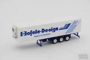 Herpa Refrigerated Trailer Old Construction 3axis Blue white hofele Design h1