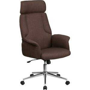 High Back Brown Fabric Executive Swivel Office Chair With Chrome Base And