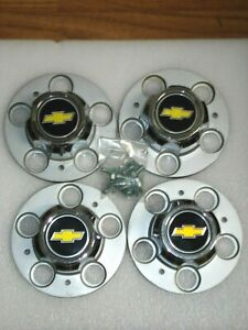 Unused Set Oem Metal Gm 73 87 Chevy 5 Lug Truck Rally Wheel Centers