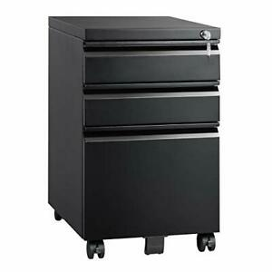 3 Drawer Mobile File Cabinet With Lock Metal Filing Classic Style black